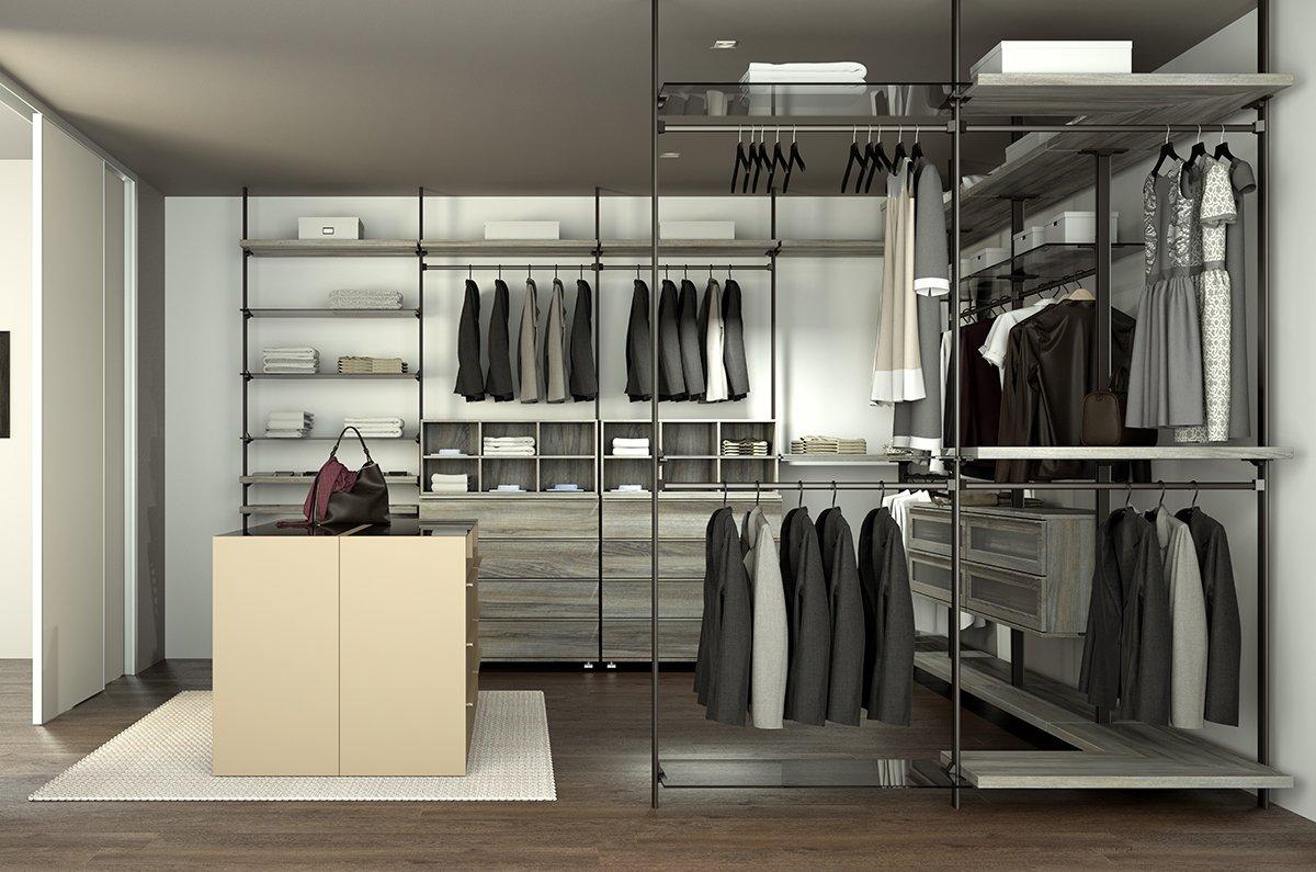 Begehbarer Kleiderschrank System B - Laminat Walnuss und Metallkomponenten in der Farbe RAL 8019_IDAW